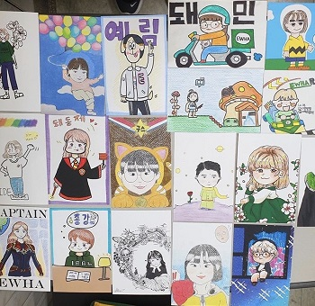 Hand-drawn goods made by Grim Girls members. Photo provided by Grim Girls.