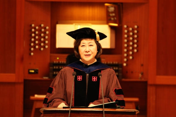 President Kim Eun-mee addresses her inaugural speech. Photo by Shen Yu-yan.