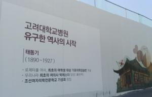 The controversial banner regarding Esther Park is located at the construction site in Korea University Anam Hospital. Photo by Heo Sol