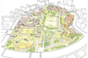 "Yoo Hyun-joon's master plan for ""Smurf Village School"" where the school buildings are low-rise and are separated into small units. Photo provided by Yoo Hyun-joon"