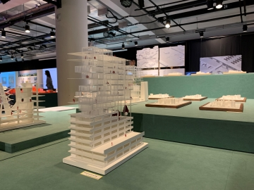 "A model building displayed at ""PILaR(+) – No-regrets scenarios for the future of Euljiro."" Photo provided by Yoon Ji-ye."