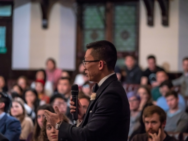 A Cambridge Union member speaking in the Hong Kong debate.  Photo provided by Cambridge Union.