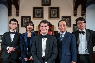 Isaac Fung, Margaret Zheng, Gabriel Barton-Singer, Victor Gao, and Evan Fowler (from left to right).  Photo provided by Cambridge Union.